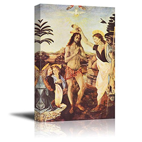 The Baptism of Christ by Leonardo da Vinci Print Famous Oil Painting Reproduction