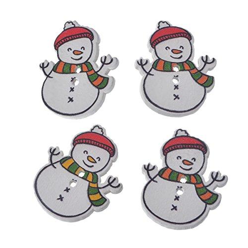 Souarts White Christmas Snowman Shape 2 Holes Wooden Button Pack of 30pcs