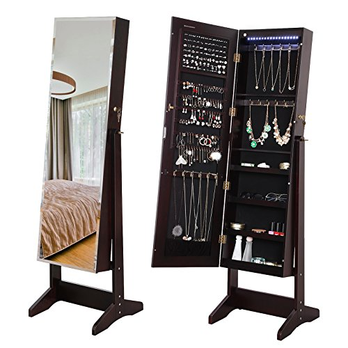 SONGMICS 18 LEDs Jewelry Cabinet with Bevel Edge Mirror Lockable Standing Armoire Organizer Brow ...