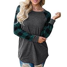 Hanican Women Crew Neck Tops Plaid Splice Sweatshirt Pullover Long Sleeve Shirt