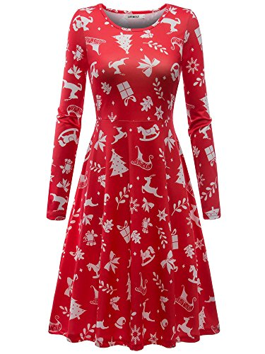 Candy Party Dress (LifeBest Women's Santa Christmas Print Pullover Flared Casual Long Sleeve A Line Party Dress)