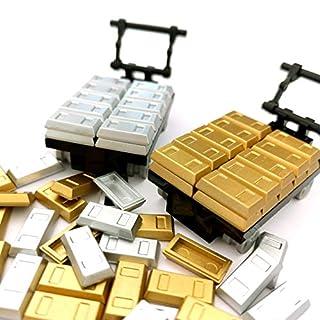SPRITE WORLD Plating Gold Bars Sliver Bars Brick Blocks Toy Treasure Set for Mini Figures Compatible Major Brands