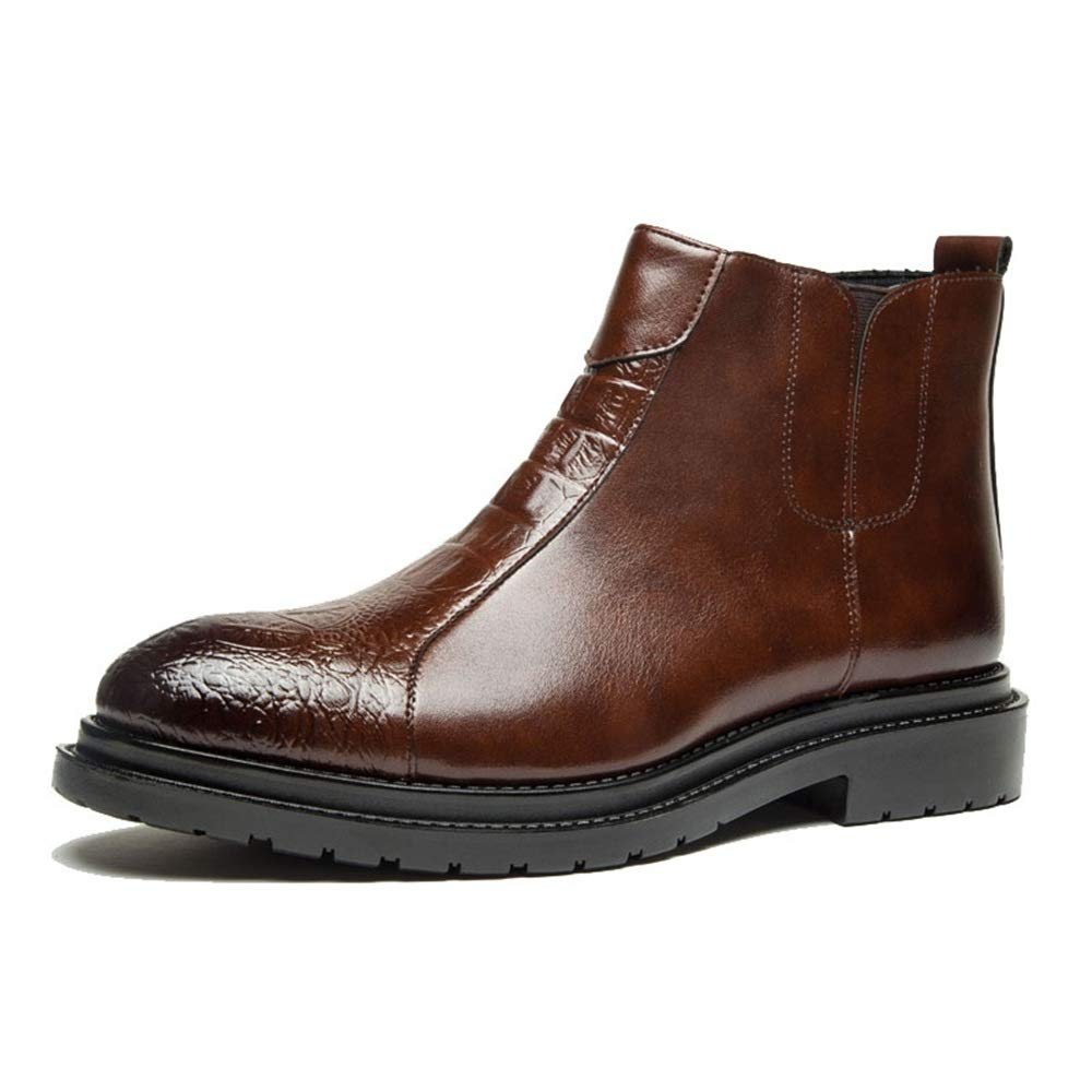 Hilotu Herren Spitzen Leder Stiefel Seitlicher Reißverschluss Einfache Chukka High Top Stiefel Abriebfest (Farbe   Braun, Größe   38 EU)