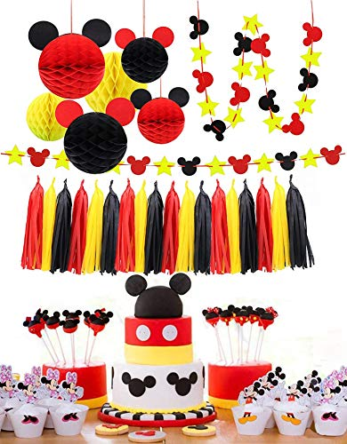 ZOIN Party Supplies Honeycomb Balls Stars Garland Banner Tissue Paper Tassels for Mickey Minnie Theme Party Birthday Baby Shower Decoration Kits (Red Yellow Black)