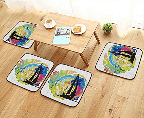 Printsonne Fillet Chair Cushion Joyful Tropical Flowers Clouds Sky Speed Boat Luxury Suitable for The Chair W13.5 x L13.5/4PCS Set