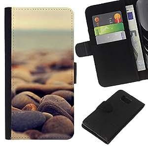 LECELL--Cuero de la tarjeta la carpeta del tirón Smartphone Slots Protección Holder For Samsung ALPHA G850 -- Piedras de la playa --