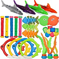 heytech 29 PCS Dive Toys Pool Toys Underwater Swimming Toys Diving Torpedos, Diving Rings, Diving Gems, Diving Sticks,...