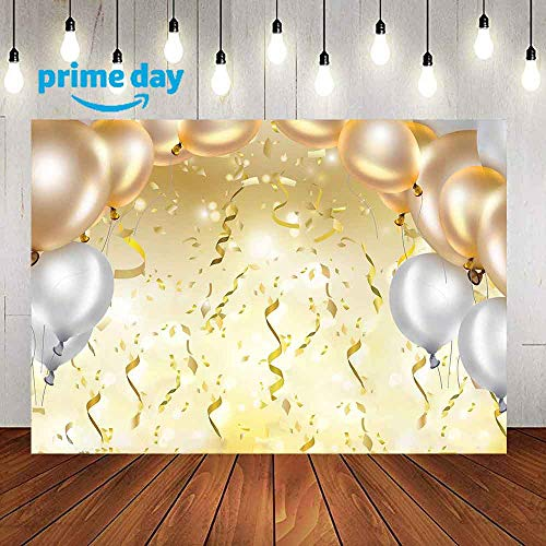Grand Party Photography Backdrop, 9x6FT, Golden Balloons Ribbons Background, Great for Prom, Graduation, Wedding, Birthday Party Props LYLU262 -