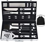 ROMANTICIST 20PC Barbecue Accessories with Rubber Handle- Stainless Steel BBQ Tools Set with Aluminium Case - Complete Outdoor Barbecue Kit Set for Men Dad