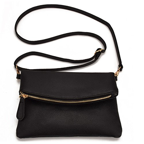 Girls Womens Pu Foldover Bags Crossbody Leather Envelope Shoulder Meliya Handbag Tassel Wristlet Bag Black1 fq5wdE