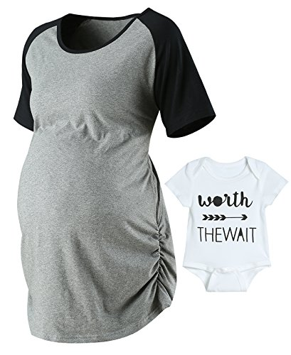 Lorjoy Women's Raglan Sleeve T-Shirt Summer Side Ruched Maternity Tops Fitted Pregnancy Clothes (S)