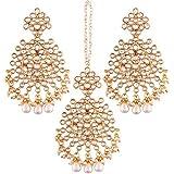 I Jewels Gold Plated Kundan & Pearl Earring Set with Maang Tikka for Women (TE2497W)