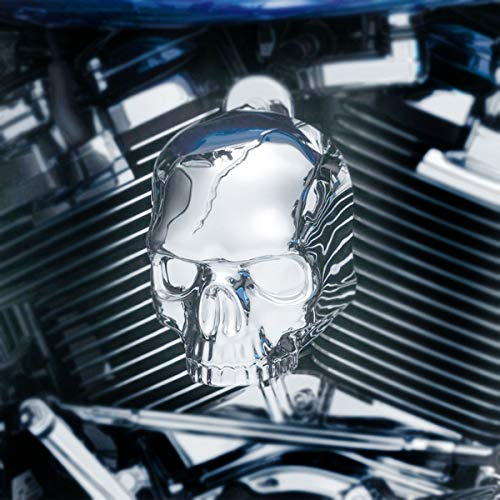 Kuryakyn Skull Horn Cover Compatible for Harley-Davidson 17-19 Models with Stock Waterfall - - Horn Cover Chrome