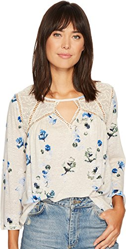 Lucky Brand Women's Floral Lace Mix Peasant Top Natural Multi ()