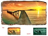 Startonight 3D Mural Wall Art Photo Decor Window Bridge on the Shore Amazing Dual View Surprise Large Wall Mural Wallpaper for Living Room or Bedroom Beach Wall Art 120 x 220 cm