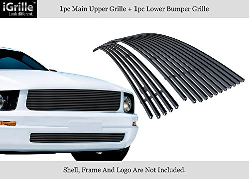 APS Compatible with 05-09 Ford Mustang V6 Stainless Steel Black Billet Grille Combo - V6 Mustang Emblems