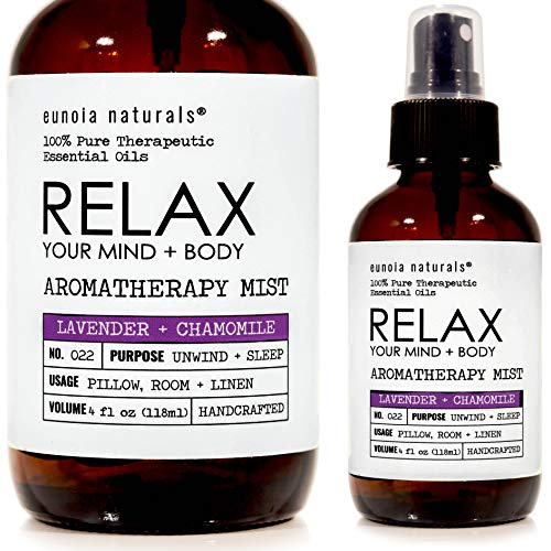 eunoia naturals Relax Lavender Aromatherapy Spray, Lavender Pillow Spray, Lavender & Chamomile, Lavender Pillow Spray, Lavender Calming Spray, Pillow Mist, Pure Tested Essential Oils, 4oz - Calming Aromatherapy Lavender