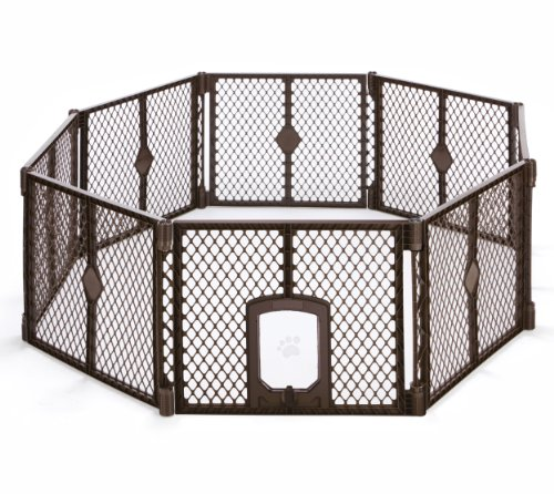"North States MyPet 34 Sq. Ft. Petyard Passage: 8-panel pet enclosure with lockable pet door. Freestanding, 7 sq. ft - 34 sq. ft. (26"" tall, Brown)"