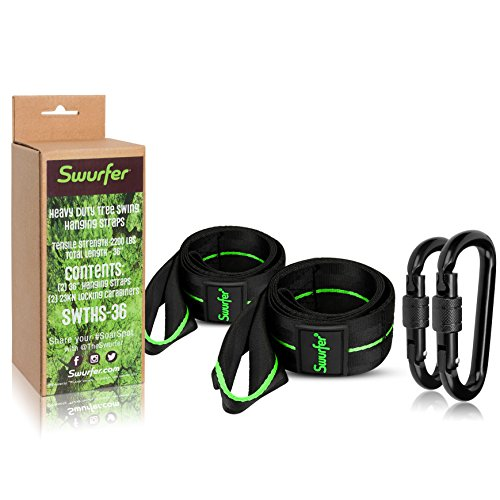 Swurfer 3ft Tree Swing Straps Hanging Kit (Set of 2) Durable Weatherproof Tree Attachment Straps - Includes 2 Industrial Strength Safe Locking Carabiners, Holds 2000 Lbs - Hang Any Swing or Hammock