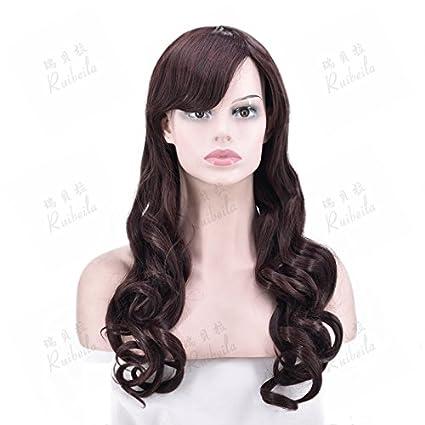 WIAGHUAS Peluca Mujer Marrón Oscuro Pelo Largo Y Rizado Flequillo Oblicuo Natural Realista Peluca Hebilla Flequillo
