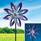 Bits and Pieces - 44'' Solar Watercolor Wind Spinner - Solar Powered Glass Ball Emits Color-Changing Light - Sturdy, Durable Outdoor Lawn and Garden Décor