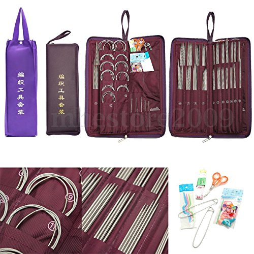 104Pcs/Set Stainless Steel Straight Round Knitting Needles Crochet Hook w/ Bag by NOOOSHI