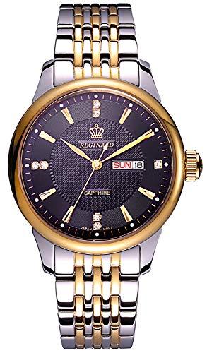 REGINALD Men Watch Gold Bezel Black Dial Date Week Stainless Steel Case Band Quartz Waterproof Watches (Gold)
