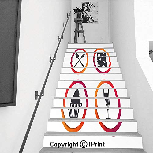 emovable Art Staircase Decals for Stairway or Home Decoration,7.1