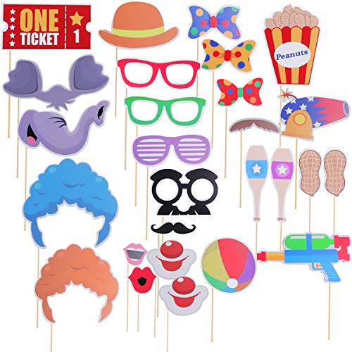 Amosfun 27PCS Circus Photo Booth Props Funny Carnival Photo Props Circus Themed Birthday Party Decoration for Wedding Birthday Baby Shower Carnival Party Supplies