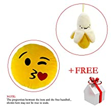 "13.8"" Emoji Sweet Kiss Emoticon Round Cushion Pillow Stuffed Plush Soft Toy"