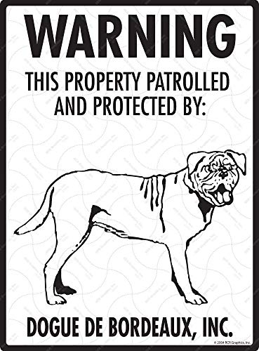 (Eletina Staring DogWarningSigns Dogue De Bordeaux This Property Patrolled Protected Sheet Iron Metal Tin Sign Beware Dog Sign 8 X 12 )