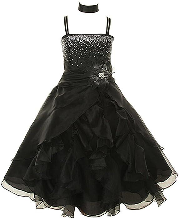 0f67dcb22014 Amazon.com  Cinderella Couture Crystal Organza Girl Dress-Black-4 ...