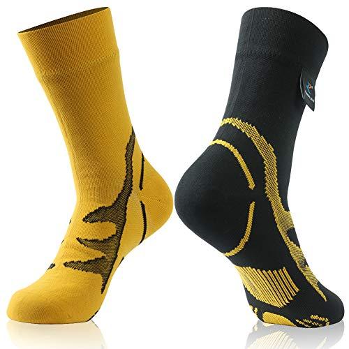 Climbing Socks, Waterproof RANDY SUN Unisex Sport Socks & Breathable Hiking/Trekking/Skiing Socks, 1 Pair-Different Colors in Two Fashion Socks-Mid calf socks,Large
