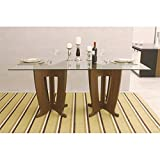 Manhattan Comfort Jane 79' Glass Top Dining Table in Nut Brown