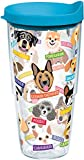 Tervis 1217075 Flat Art - Dogs Tumbler with Wrap and Turquoise Lid 24oz, Clear