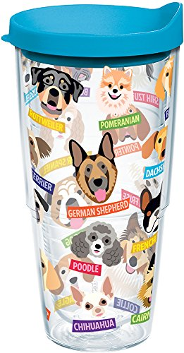 (Tervis 1217075 Flat Art - Dogs Tumbler with Wrap and Turquoise Lid 24oz, Clear)