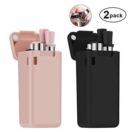 Portable Set with Hard Case Holder and Cleaning Brush etc. Black/&Pink For Party,Travel,Household,Outdoor Composed of Stainless Steel and Food-grade Silicone 100 Pack Collapsible Reusable Straw