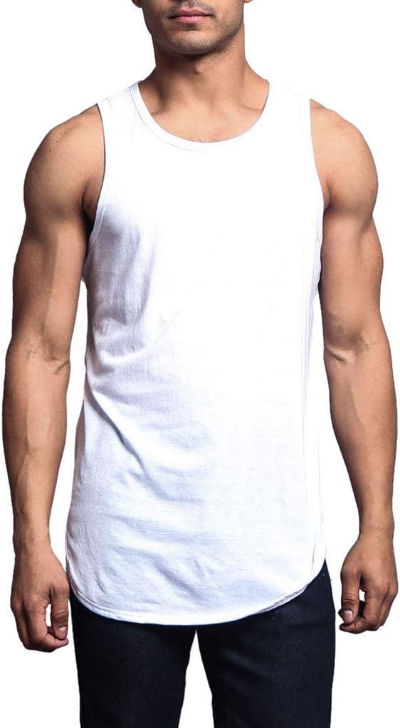 Herren Tanktop Wei/ß Dasongff Tank Top Slim Fit Basic T-Shirt Tankshirt /Ärmellos Weste Muskelshirt Fitness Basic T/äglicher Stil Rundhals Lose Unterhemd