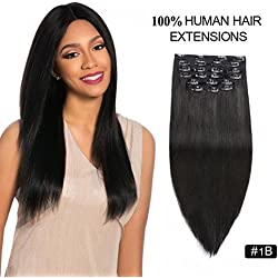"Clip in Hair Extensions 1b, Re4U 130g Darkest Brown 16inch Raw Unprocessed Natural Color Full Head Remy Clip in Human Hair Thick (16"" 10pcs 130g Natural Black)"