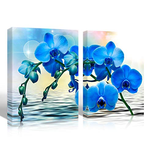 Mon Art Blue Orchid Flower Canvas Print Wall Art Watercolor Floral Picture Artwork for Bathroom Bedroom Living Room Decoration Tropical Garden Blossom Home Decor,Framed,12x16 inch 2Pcs