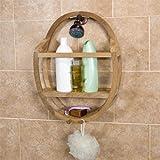 Teak Round Shower Caddy Bathroom Shelf Wall Storage Rack Bath Organizer Holder Shelves