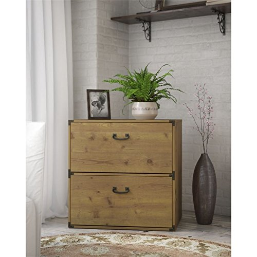 kathy ireland Home by Bush Furniture Ironworks Lateral File Cabinet in Vintage Golden Pine ()