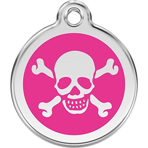 Red Dingo Personalized Skull & Cross Bones Pet ID Dog Tag (Medium Hot - Bones Pink Skull