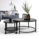 HOMY CASA Living Room Table Sets, Vintage Nesting Coffee Table Set of 2, Modern Stacking Coffee End Side Table Leisure Nigh Stand Furniture Decor with Wheel for Living Room, Balcony, Cafe(Dark Brown)