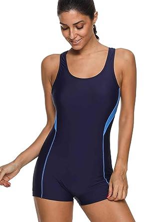 9112d6f0fe406 Sport one Piece Swimsuit for Women Boyshort Bathing Suits one Piece pro  Swimwear M Royal Navy
