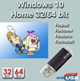 Windows 10 Home 32-64 Bit Install | Boot | Recovery | Restore USB Flash Drive Disk Perfect for Install or Reinstall of Windows