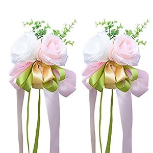 WINOMO 2Pcs Ribbon Flower for Wedding Artificial Rose Wedding Car Decoration Flower Mirror Door Decor 11