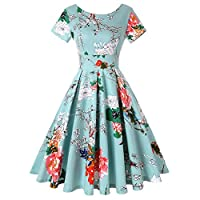 ROOSEY Women's 1950s Retro Vintage Cocktail Party Swing Dress Short Sleeve