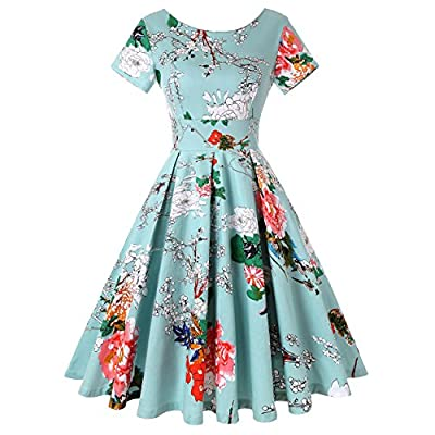 ROOSEY Women's 1950s Retro Vintage Cocktail Party Swing Dress with Short Sleeve