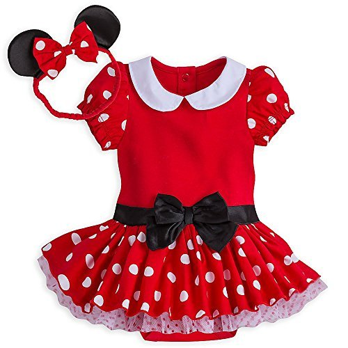 Disney Store Red Minnie Mouse Polka Dot Baby Costume & Headband Dress Up ! (0-3M) (Easy Disney Costume)